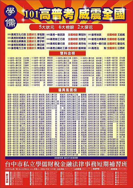 101高普考中儒紅榜
