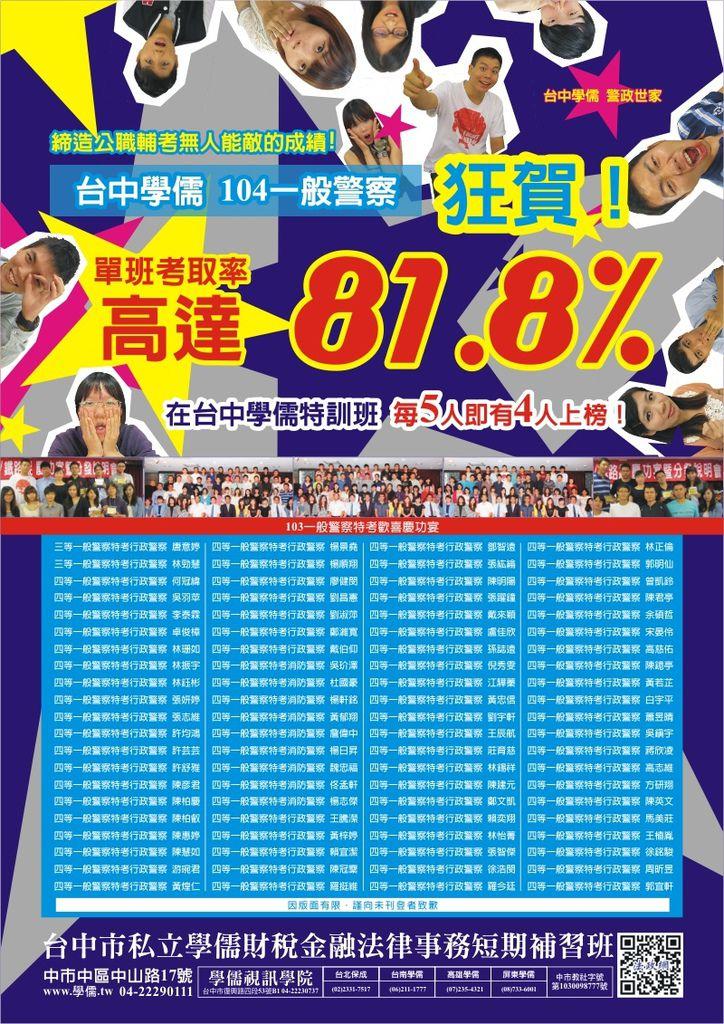 台中學儒警察考取率高達81.8%_榜單