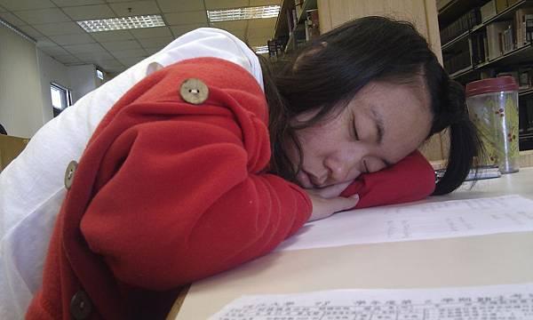 在圖書館睡豬覺