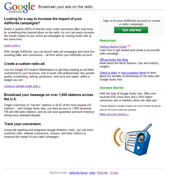 Google adwords audio