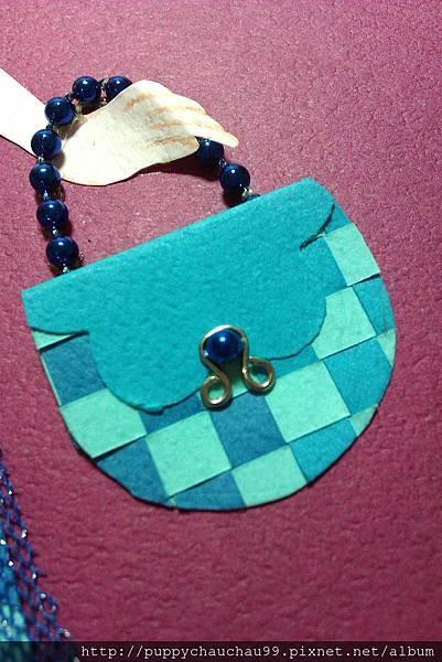 水藍色小巧包-珠珠扣環