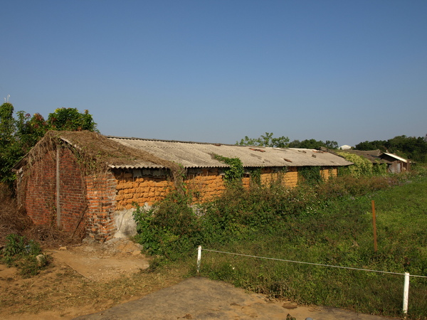 花圃旁的磚瓦房