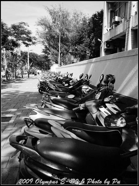 而校園外則是成排的摩托車....