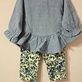 棉麻不規則衣(藍)+單寧黃花褲