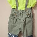 螢光黃T+吊帶褲