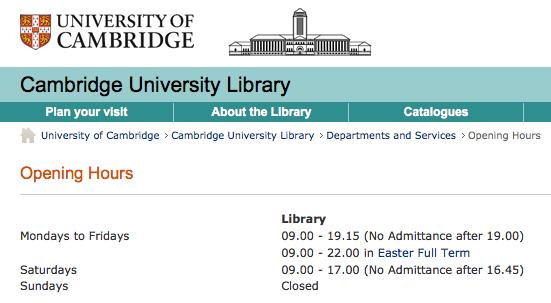 劍橋圖書館十點關門