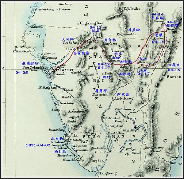 湯姆生南台灣旅行地圖-日期標示
