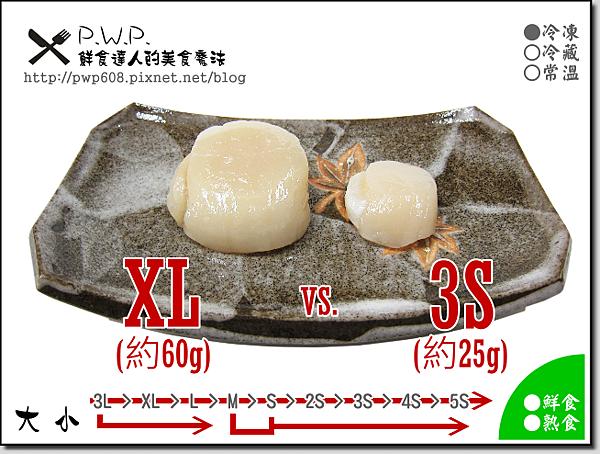 北海道生食干貝-對比