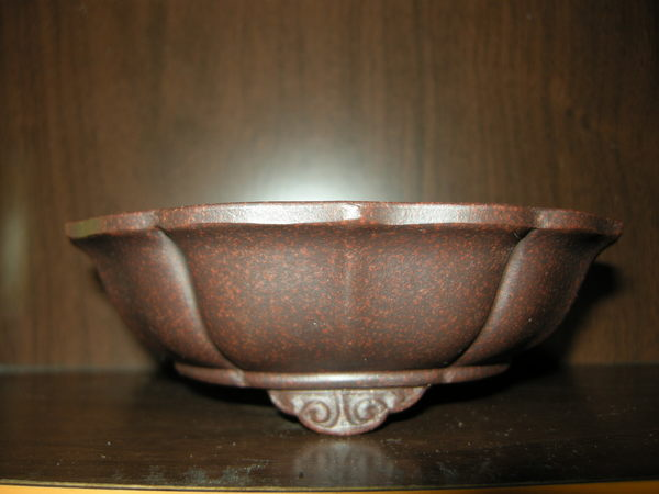 紅古銅泥外緣鏡型雲足圓盆0216