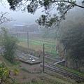 快到勝興車站,有薄霧