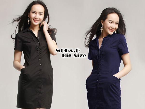 *MoDa.Q中大尺碼*【Y6001】氣質淑女雙領造型口袋襯衫連身洋裝