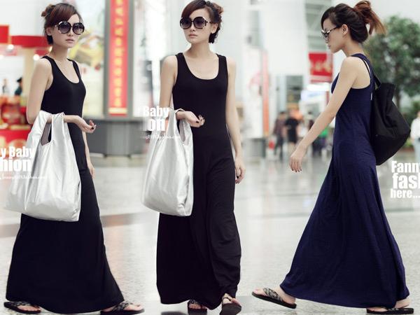 *MoDa.Q中大尺碼*【Y6006】超百搭顯瘦款大裙擺連身洋裝