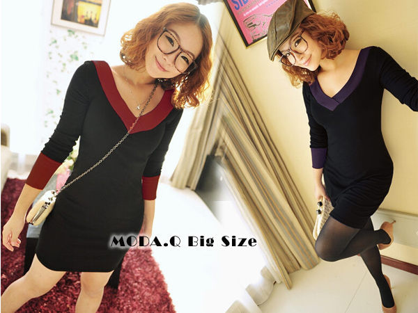 *MoDa.Q大尺碼*【Y79105】前後大V領邊條上色造型顯瘦款洋裝