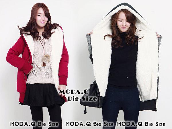 *MoDa.Q大尺碼*【Y8095】韓國時尚保暖連帽QQ毛長板休閒外套