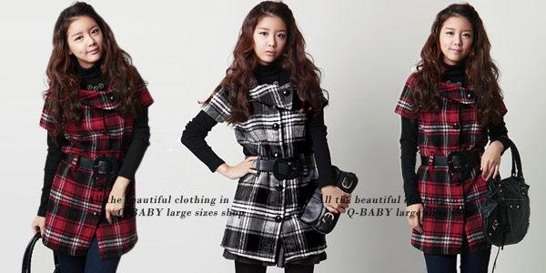 *MoDa.Q中大尺碼*【Y5706】英式俏麗復古格紋毛料兩穿式洋裝/外套