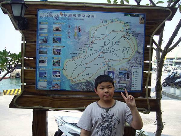 民宿外的小琉球導覽地圖