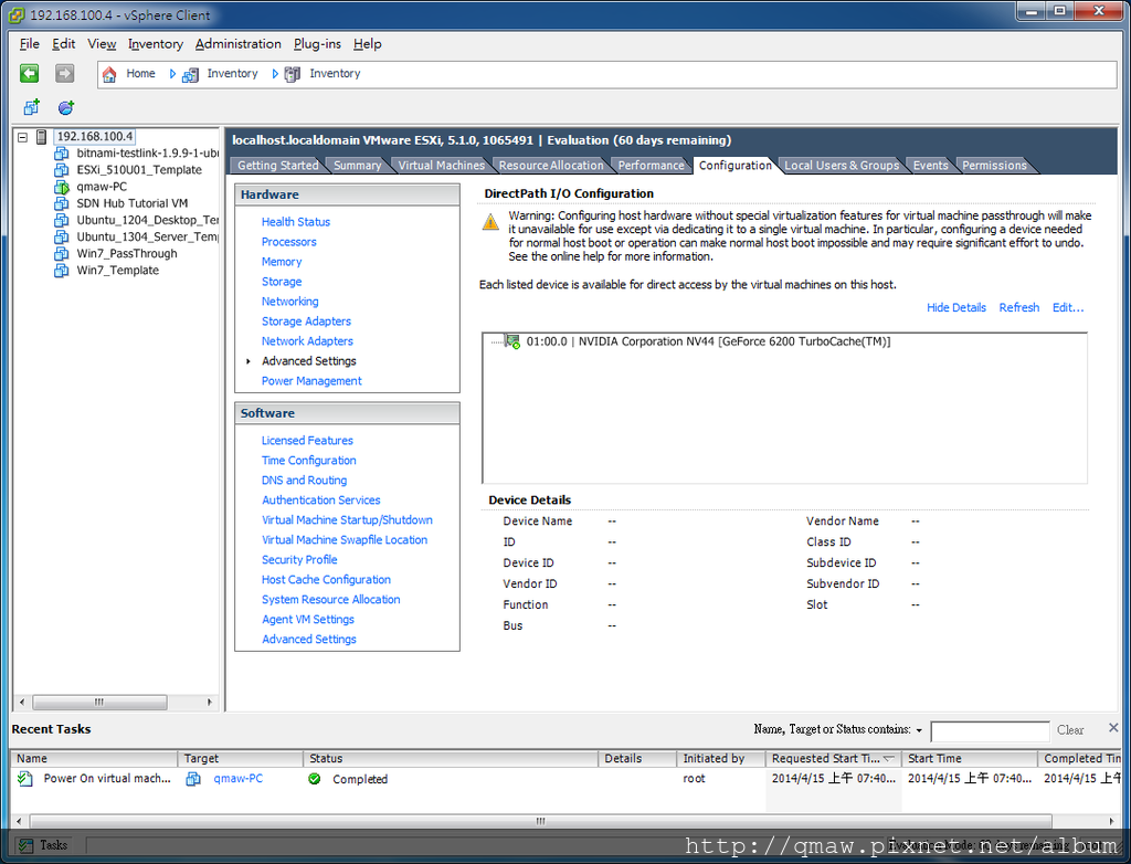ESXi Advance setting