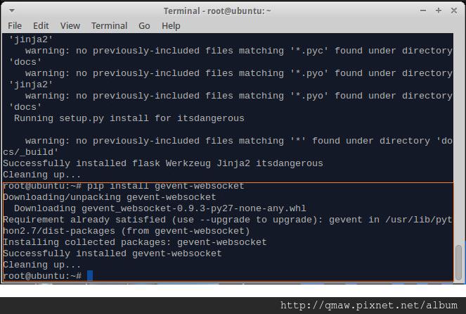 sudo pip install gevent-websocket