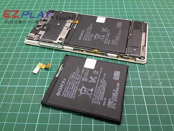 SONY C3換電池自行拆機,結果