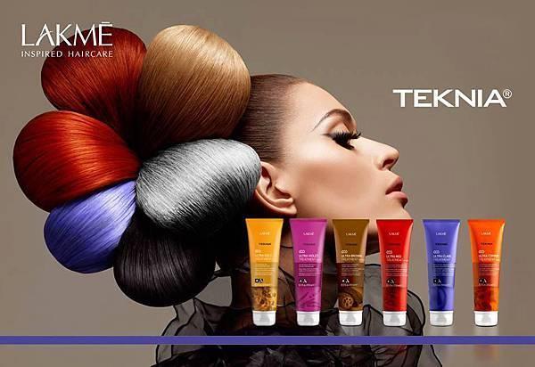 「TEKNIA增色系列-髮泥」針對染後的頭髮補色,依照不同染髮色系搭配所屬的髮泥顏色,讓染後的顏色飽和更持久。展現個人特色更動人!(髮泥顏色由左至右依序為:金糜、紫綴、極棕、艷紅、矯色、銅調)
