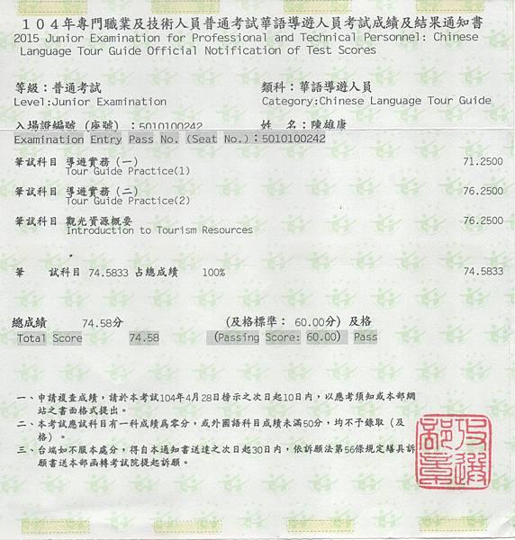 華語導遊成績單