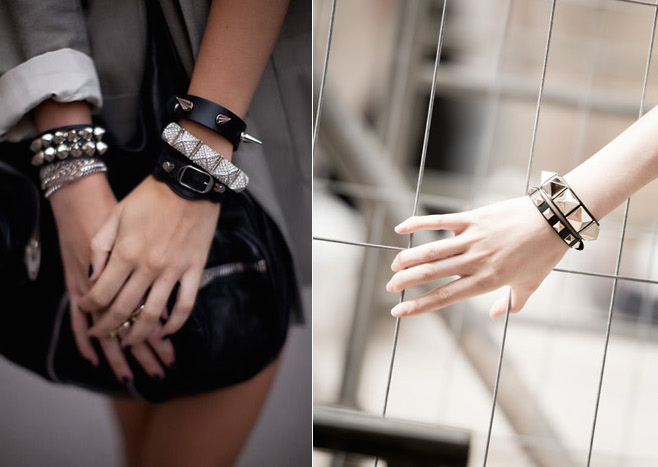 VALENTINO Slim Rockstud Bracelet with celine bag.jpg