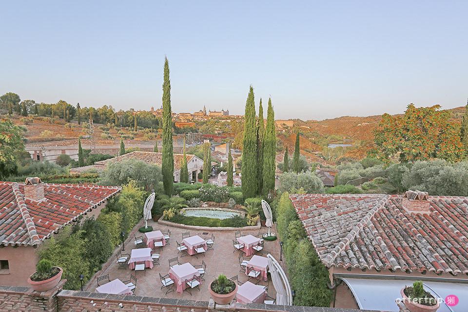 「西班牙托雷多住宿」Hotel Cigarral de Caravantes 陽台就能看古城