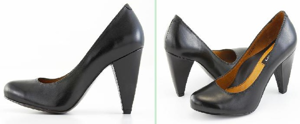 超質感黑色牛皮高跟包鞋 (兩款)