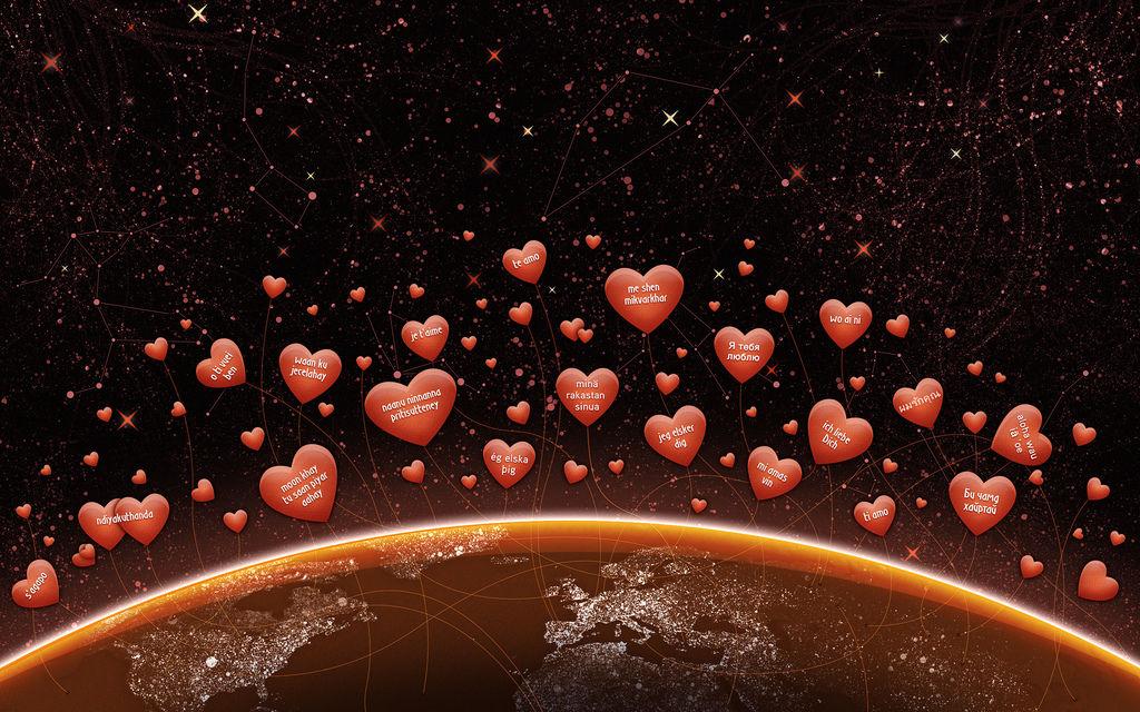 Сердечки, я тебя люблю, земля, материки, надписи, планета, мир, звезды, день валентина, день влюбленных, любовь, 2560x1600