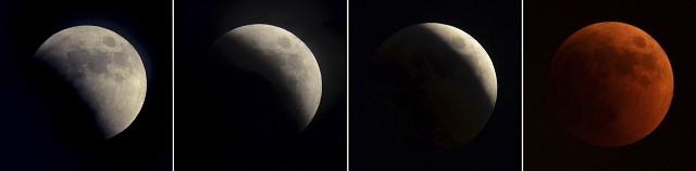 11年來最長月全食 赤紅月亮高空掛