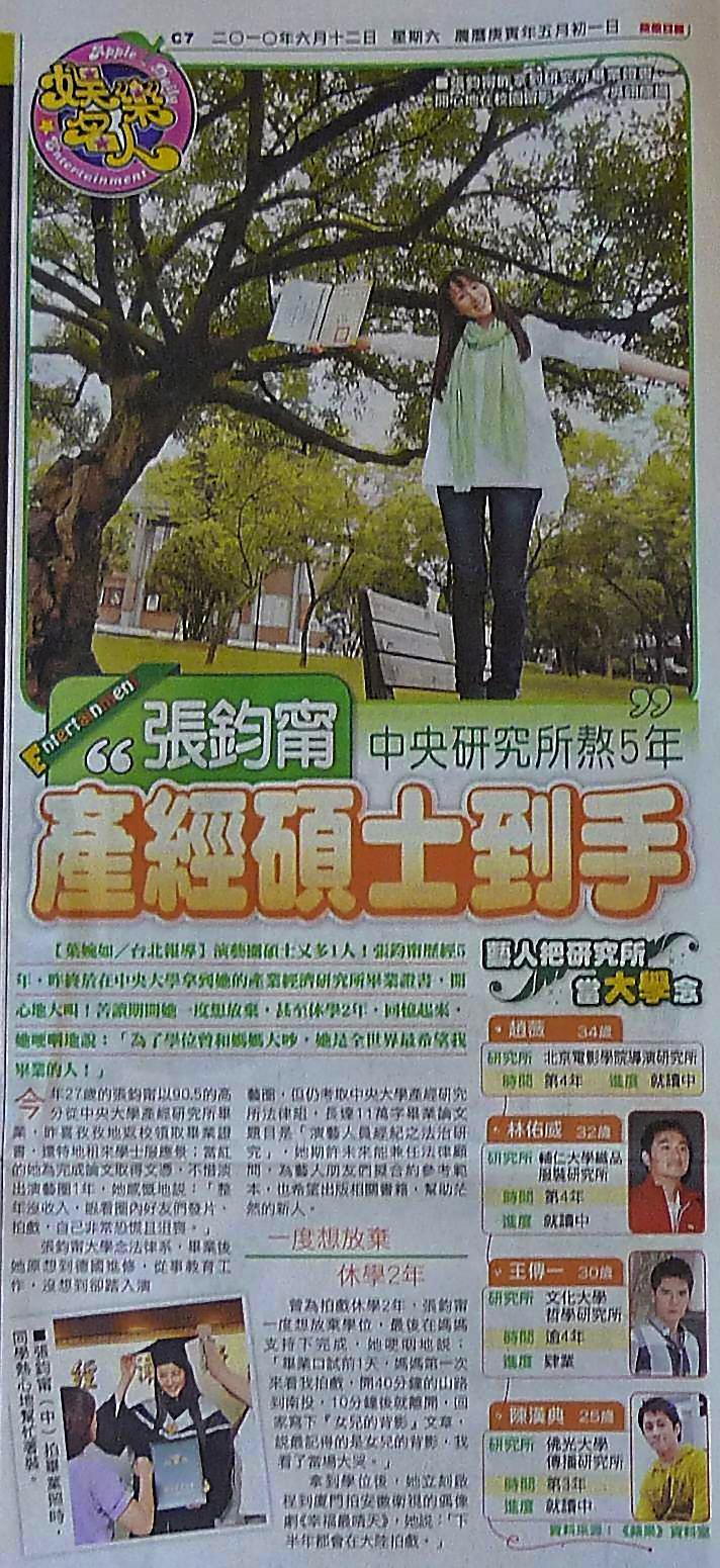 張鈞甯中央研究所熬5年 產經碩士到手