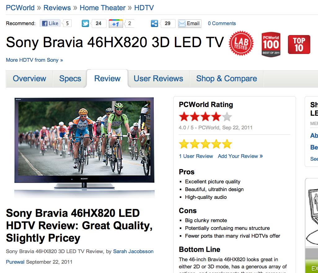 Sony Bravia 46HX820 3D LED TV