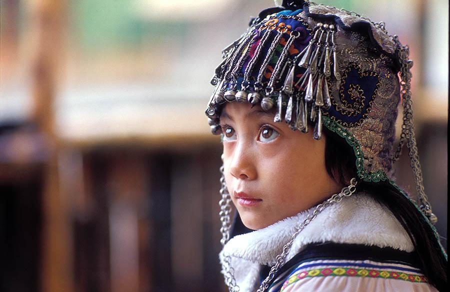 哈尼族少女頭飾