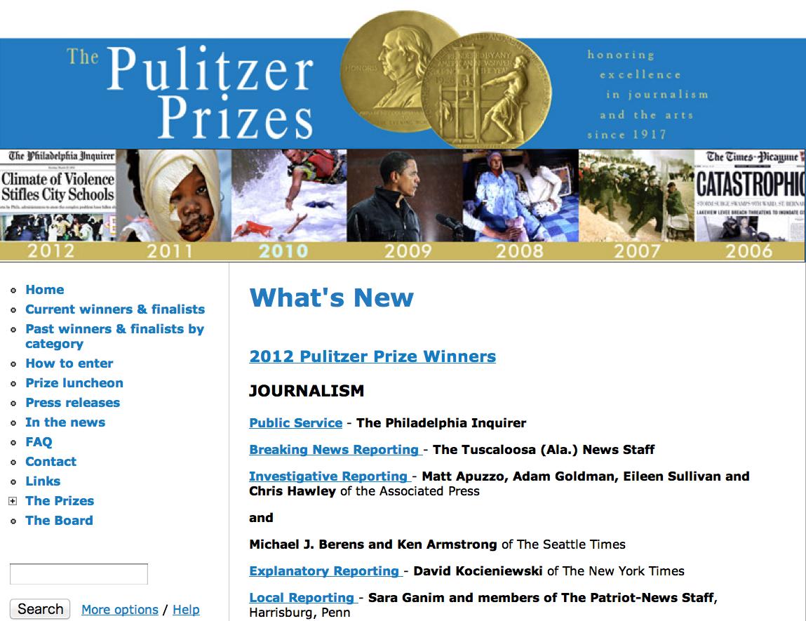 2012年普立茲新聞獎