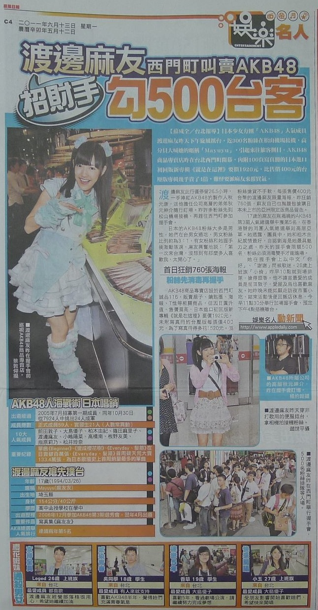渡邊麻友 西門町叫賣AKB48 招財手 勾500台客