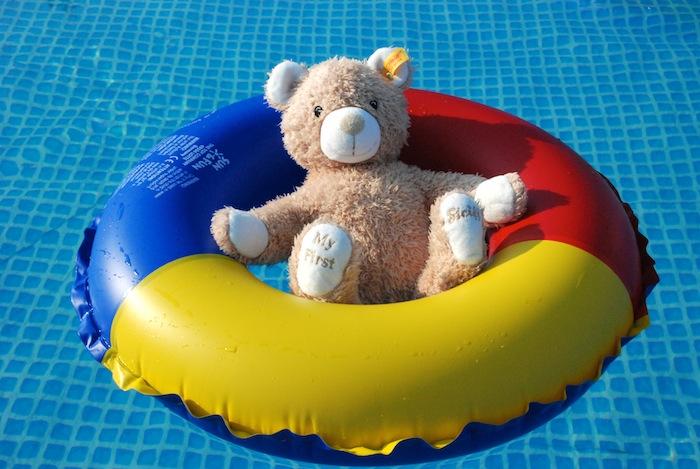 泳池的熊抱
