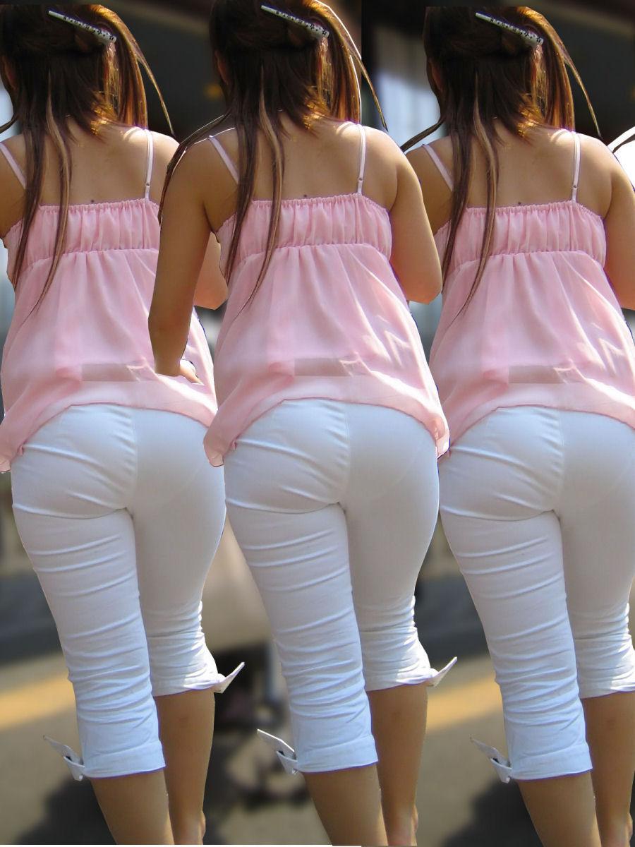 白褲下的內褲痕 079
