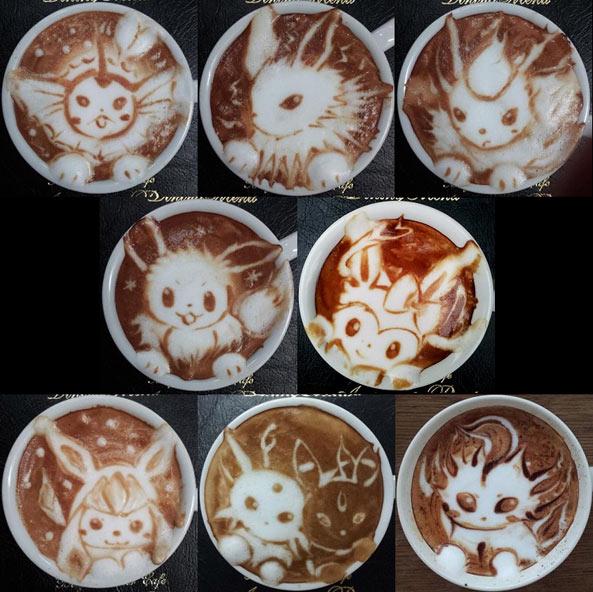 數碼寶貝  咖啡拉花