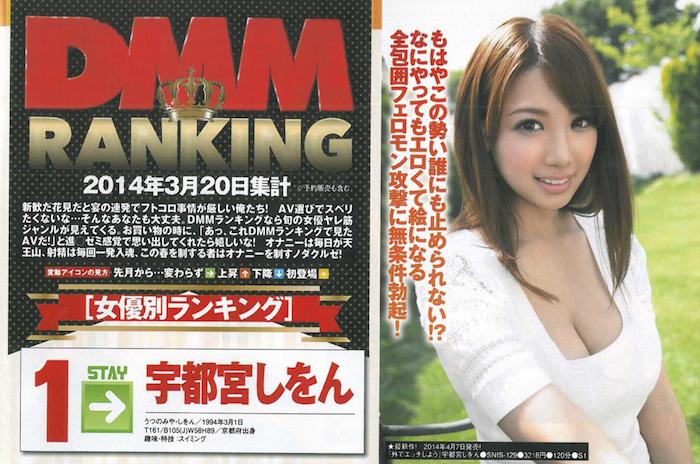 DMM 2014年6月 AV女優排行榜 Top 10