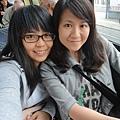 電車上跟表姊合照