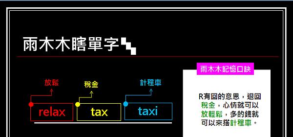 雨木木瞎單字~relax~tax~taxi