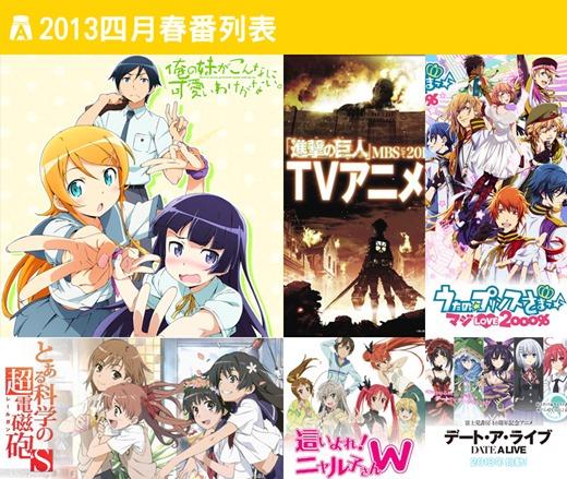 日本 2013 年 4 月春季動畫放送列表
