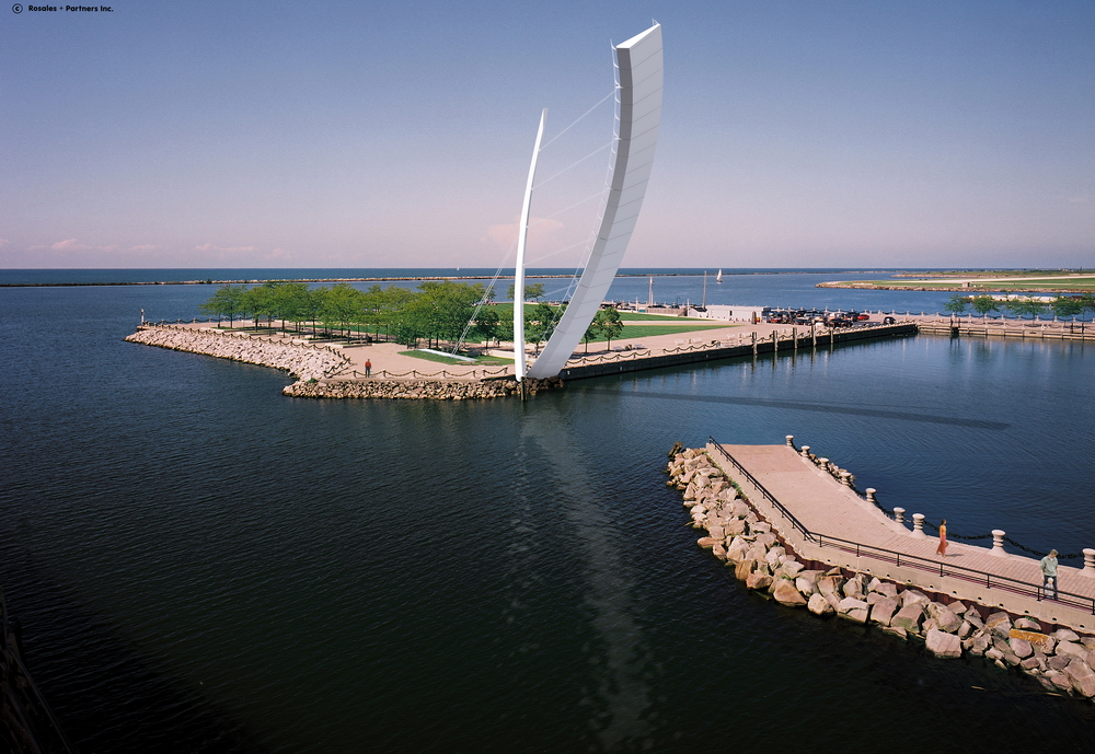 克利夫蘭北濱港可移動行人橋(North Coast Harbor Movable Pedestrian Bridge,Cleveland/ Miguel Rosales)