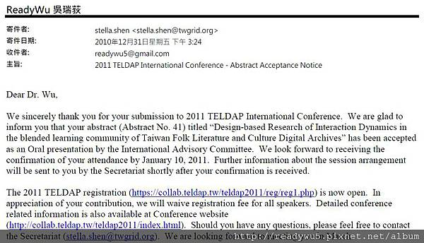 20101231_2011 TELDAP International Conference - Abstract Acceptance Notice.jpg