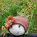 守護著向日葵的稻草人娃娃