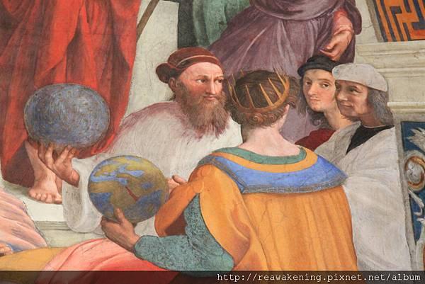 0803 雅典學院 右側數來第二位據說是拉斐爾的自畫像