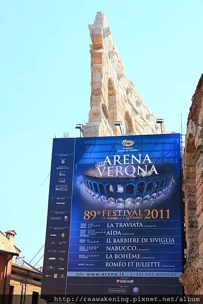 0814 2011 夏季 Arena Verona的演出歌劇時間表