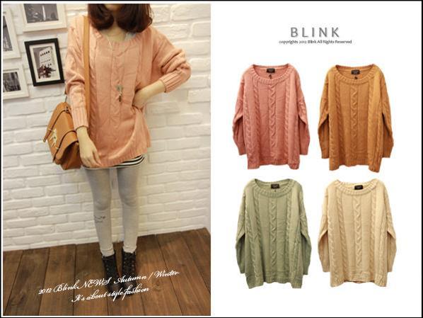 BLINK【Y118663】素色簡單直麻花長版針織衫-粉-380-1