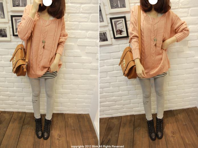BLINK【Y118663】素色簡單直麻花長版針織衫-粉-380-2