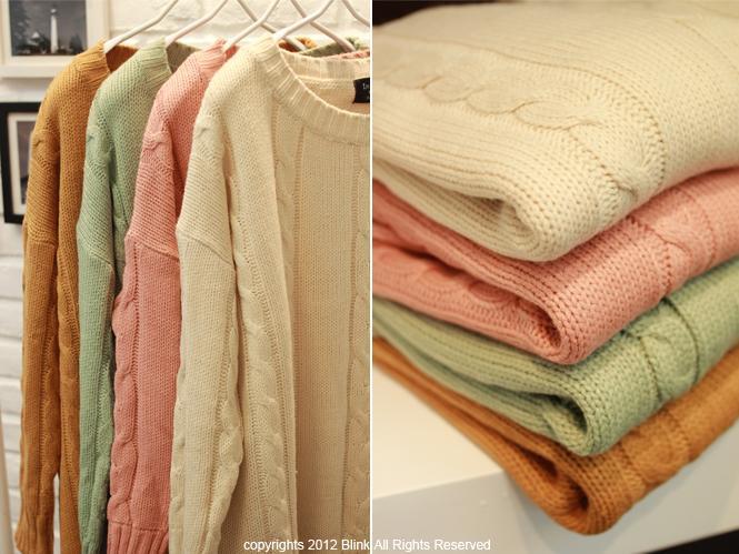 BLINK【Y118663】素色簡單直麻花長版針織衫-粉-380-3